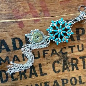 Sterling/turquoise ammunition casing necklace